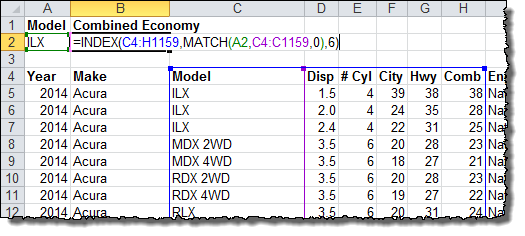 vlookup multiple criteria using match