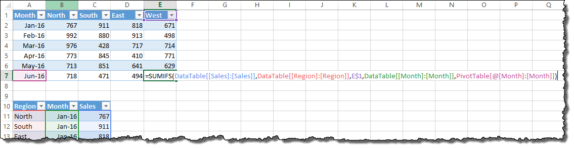 Showing the changes to the formula using absolute data table references.