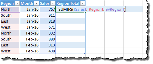 Example of column and row references in Excel data tables.