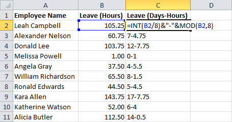 Days-Hours Sheet