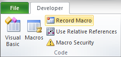 Developer Record Macro