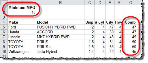 Output Table Example